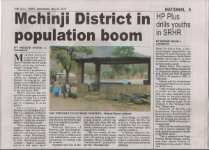 Newspaper article for Population Dissemination in Mchinji